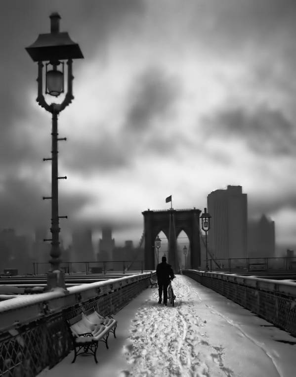Nyc Art Print featuring the photograph Walking Home by June Marie Sobrito