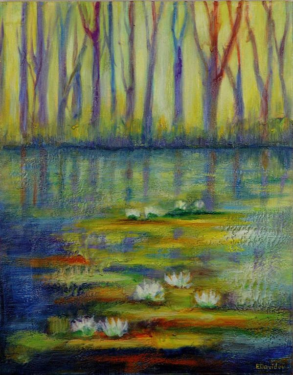 Water Art Print featuring the painting Water Lilies No 2. by Evgenia Davidov