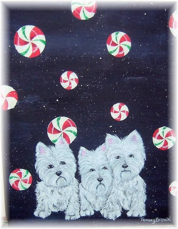 West Highland Terrier Art Print featuring the painting Westies In Candy Land by Tammy Brown