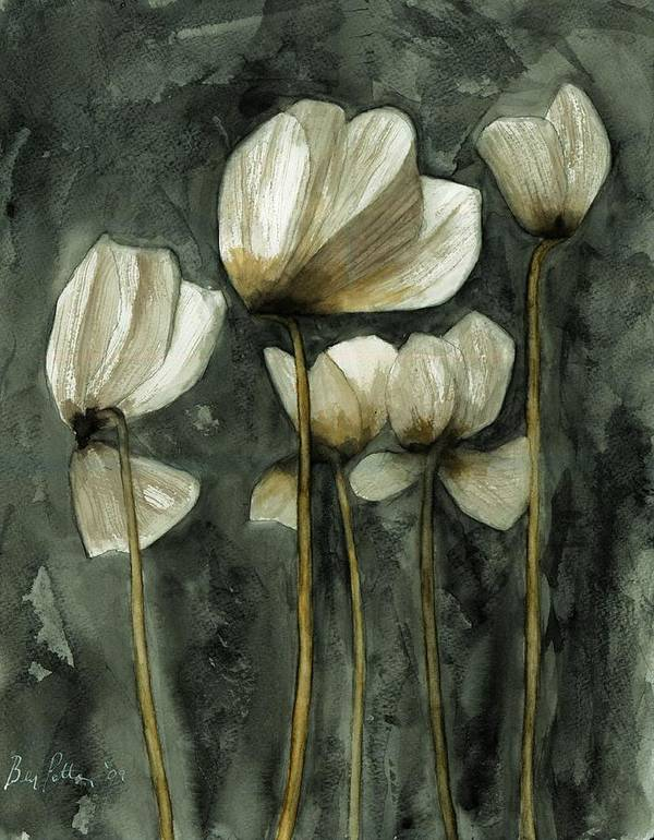 Flowers Art Print featuring the painting White Poppies by Ben Potter