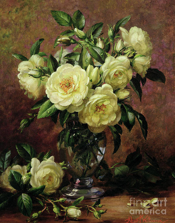 Rose; Still Life; Flower; Arrangement; Vase; Floral; Sentimental; Symbolic; Roses; White Roses; White Roses On The Floor; White Petals On The Floor Art Print featuring the painting White Roses - A Gift From The Heart by Albert Williams