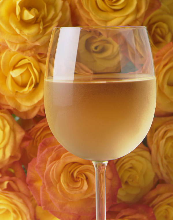 White Wine Wines Art Print featuring the photograph White Wine And Yellow Roses by Garry Gay