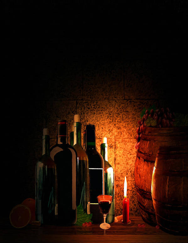 Wine Art Print featuring the painting Wine And Leisure by Lourry Legarde