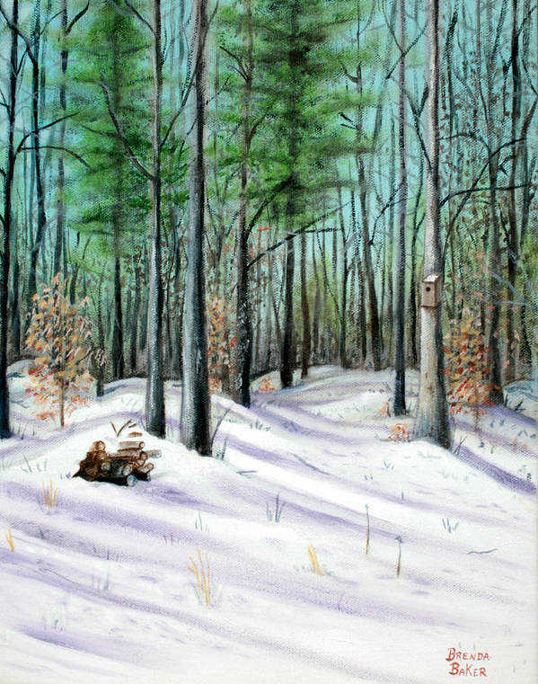Trees Art Print featuring the painting Winter Afternoon by Brenda Baker
