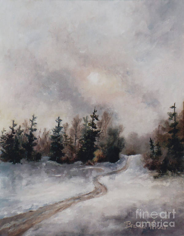 Winter Art Print featuring the painting Winters Sunset by Brenda Thour