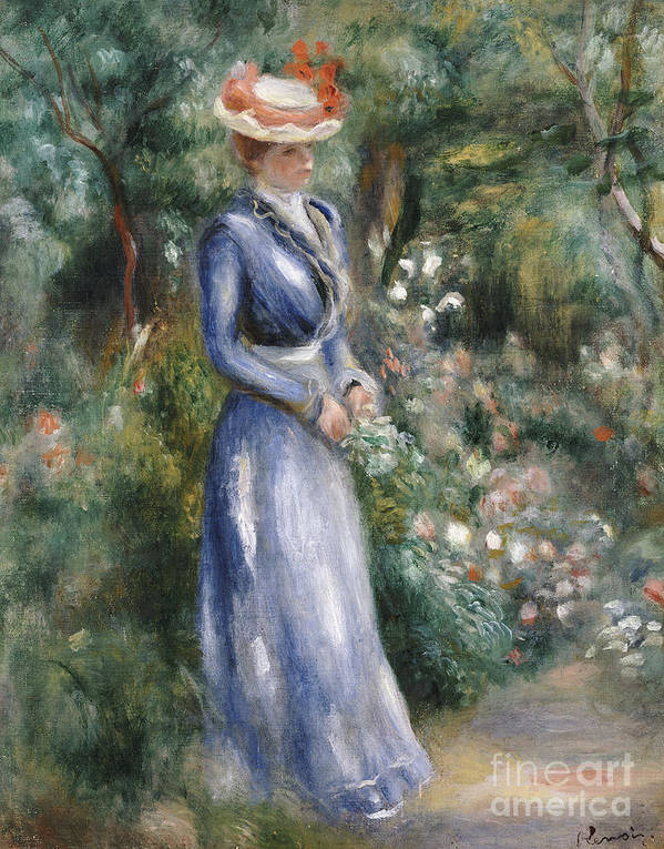 Impressionist; Impressionism; Portrait; Female; Full Length; Woman Print featuring the painting Woman In A Blue Dress Standing In The Garden At Saint-cloud by Pierre Auguste Renoir