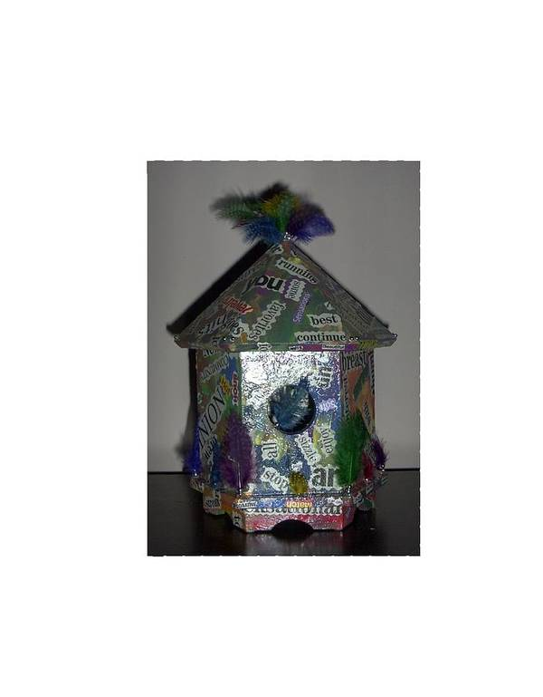 Bird House Pun Art Print featuring the painting Wordhouse by Sally Van Driest