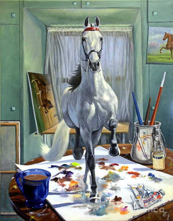 American Saddlebred Art Art Print featuring the painting Work In Progress V by Jeanne Newton Schoborg