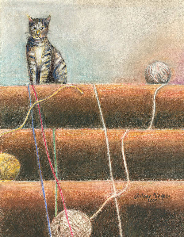 Cat Art Print featuring the pastel Yarn...what Yarn by Arline Wagner