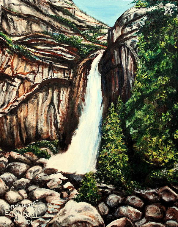 Landscape Art Print featuring the painting Yosemite Falls by Elizabeth Robinette Tyndall