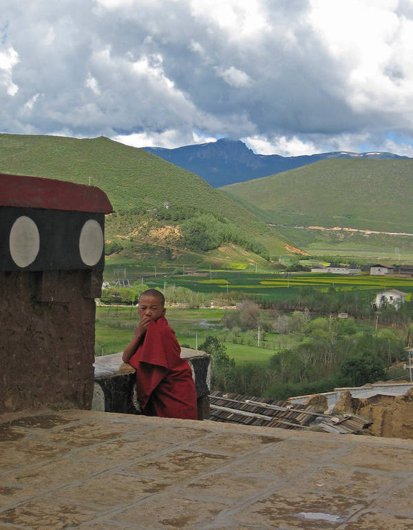 Monk Art Print featuring the photograph Young Monk Looking Over His Shoulder by Angela Siener