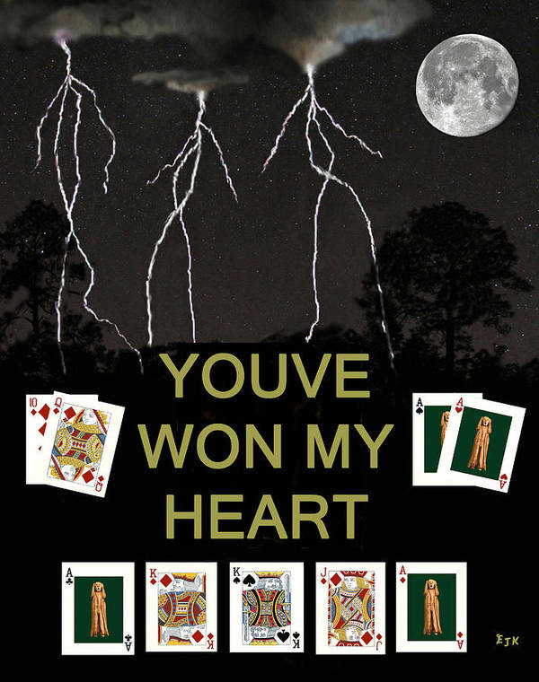 Youve Won My Heart Art Print featuring the mixed media Youve Won My Heart Poker Cards by Eric Kempson