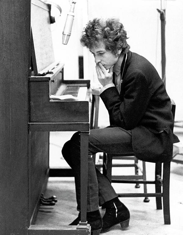 Piano Art Print featuring the photograph Bob Dylan Records Highway 61 Revisited by Michael Ochs Archives