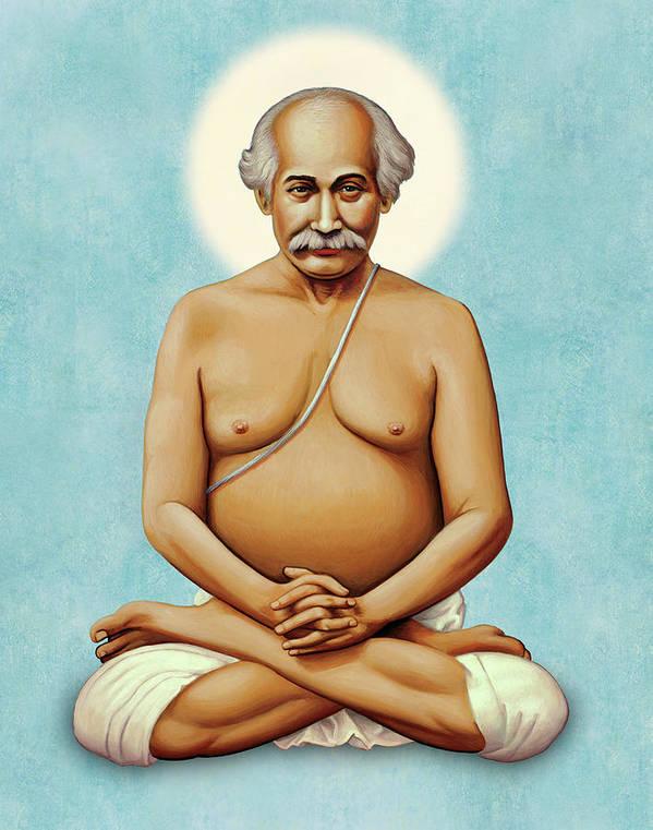 Guru Art Print featuring the painting Lahiri Mahasaya On Blue by Sacred Visions