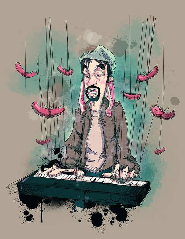 Tom Green Art Print featuring the drawing Daddy Would You Like Some Sausage by Ludwig Van Bacon