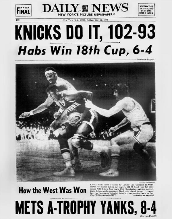 Playoffs Art Print featuring the photograph Daily News Back Page May 11, 1973 by New York Daily News Archive