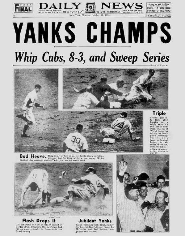 American League Baseball Art Print featuring the photograph Daily News Front Page October 10, 1938 by New York Daily News Archive