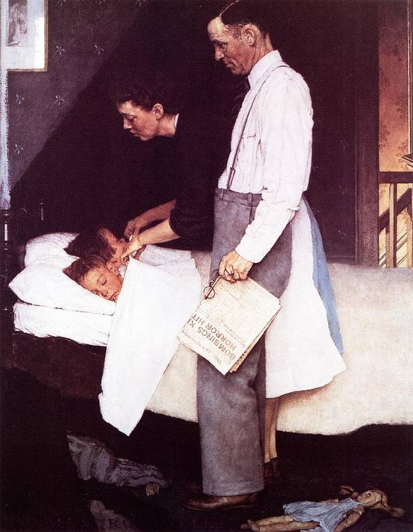 Bed Art Print featuring the drawing Freedom From Fear by Norman Rockwell