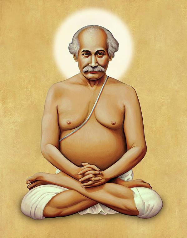 Yoga Art Print featuring the painting Lahiri Mahasaya On Gold by Sacred Visions
