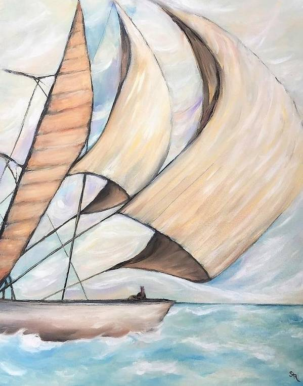 Beach Sea Sails Sailboat Water Cabin Cottage Beachhouse Artwork Canvas Folkart Blue Doves Dove Wind Shore Movement Wind Art Print featuring the painting On The Wings Of A Dove by Stephanie Callsen