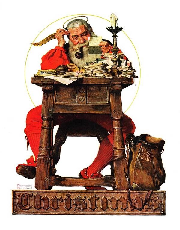 Christmas Art Print featuring the drawing Santa At His Desk by Norman Rockwell