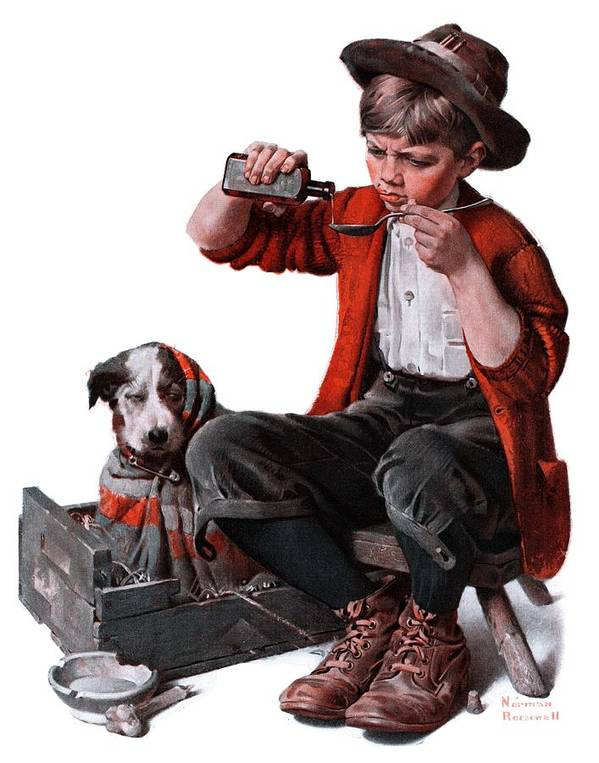 Boy Art Print featuring the drawing Sick Puppy by Norman Rockwell
