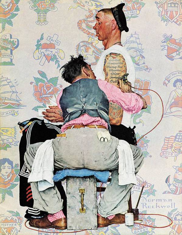 Arms Art Print featuring the drawing Tattoo Artist by Norman Rockwell