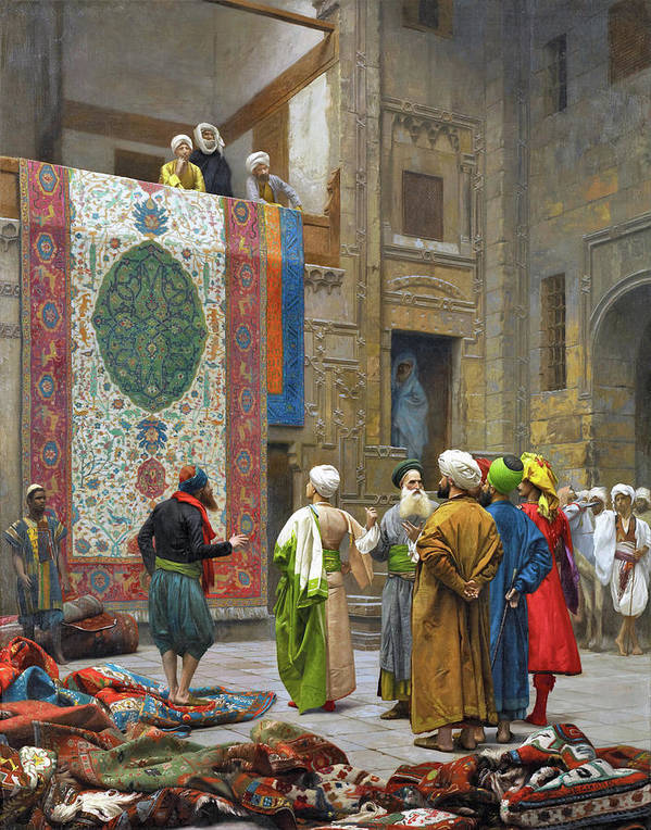 Jean Leon Gerome Art Print featuring the photograph The Carpet Merchant - Digital Remastered Edition by Jean-Leon Gerome
