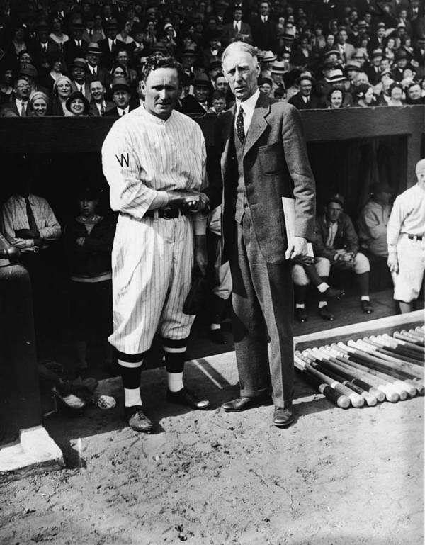 Crowd Art Print featuring the photograph Walter Johnson And Connie Mack Shake by Fpg