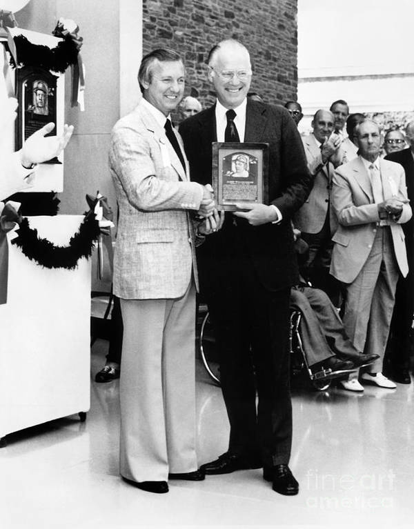 1980-1989 Art Print featuring the photograph Al Kaline And Bowie Kuhn by National Baseball Hall Of Fame Library