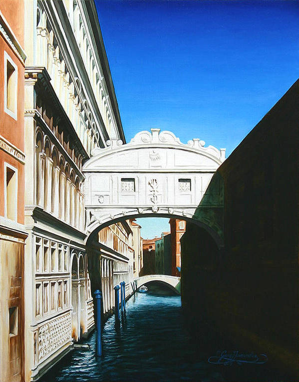 Bridge Of Sighs Art Print featuring the painting Bridge Of Sighs Venice Italy by Gary Hernandez