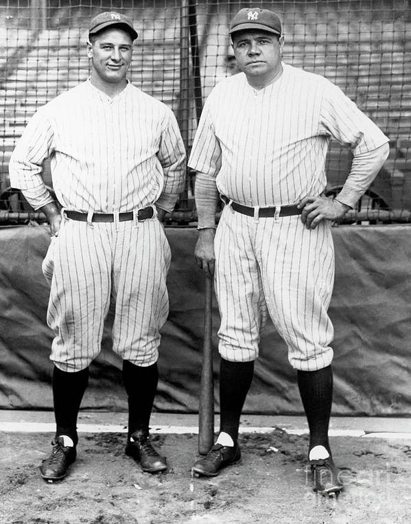 American League Baseball Art Print featuring the photograph Lou Gehrig And Babe Ruth by National Baseball Hall Of Fame Library
