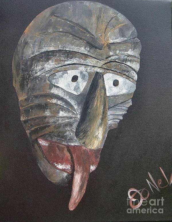 Tribal Art Print featuring the painting Medicine Man by JoNeL Art