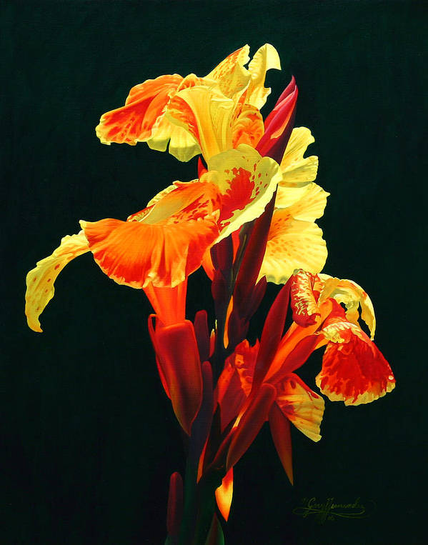 Flowers Art Print featuring the painting Yellow Cannas by Gary Hernandez