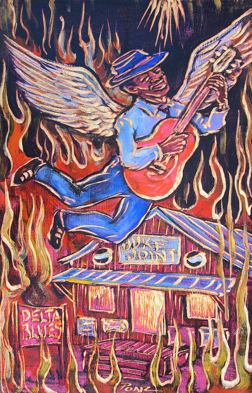 Blues Art Print featuring the painting Burnin' Blue Spirit by Robert Ponzio