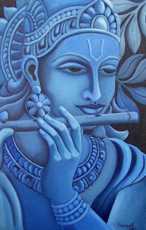 Krishna Art Print featuring the painting Krishna by Vishwajyoti Mohrhoff