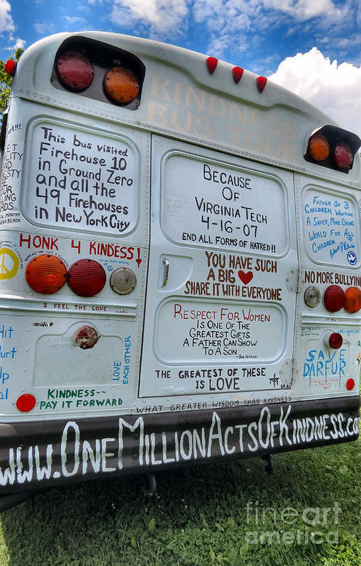 One Art Print featuring the photograph Kindness Bus 3 by Art Dingo