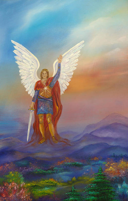 Angel Art Print featuring the painting Archangel Michael by Sundara Fawn