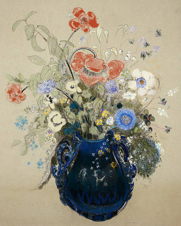Still Life; Flower Art Print featuring the painting A Vase Of Blue Flowers by Odilon Redon