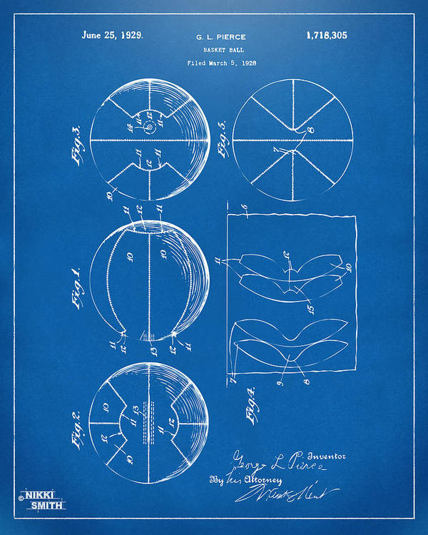 Basketball Art Print featuring the drawing 1929 Basketball Patent Artwork - Blueprint by Nikki Marie Smith