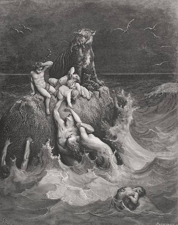 Drowning Art Print featuring the painting The Deluge by Gustave Dore
