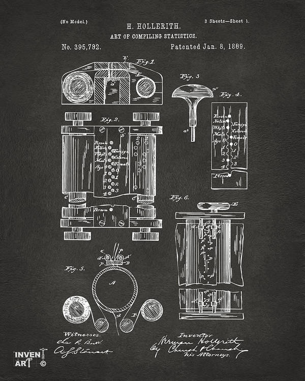 First Computer Art Print featuring the digital art 1889 First Computer Patent Gray by Nikki Marie Smith