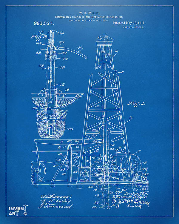 1911 oil drilling rig patent artwork blueprint art print by nikki oil rig art print featuring the digital art 1911 oil drilling rig patent artwork blueprint malvernweather Image collections