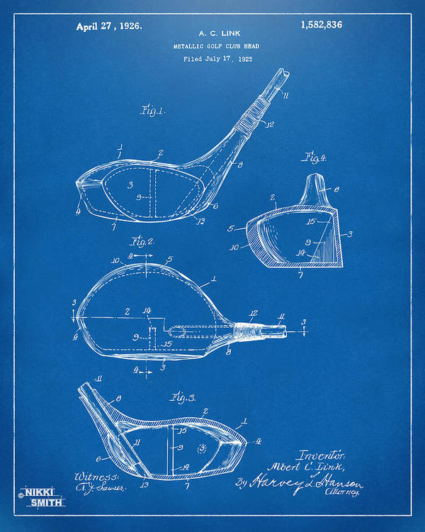 1926 golf club patent artwork blueprint art print by nikki marie smith golf art print featuring the digital art 1926 golf club patent artwork blueprint by nikki malvernweather