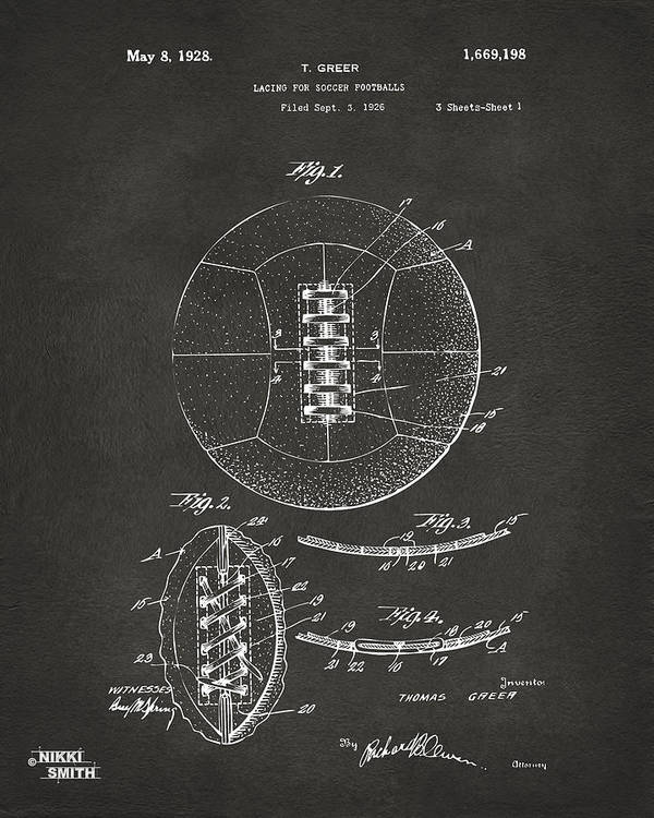 1928 soccer ball lacing patent artwork gray art print by nikki