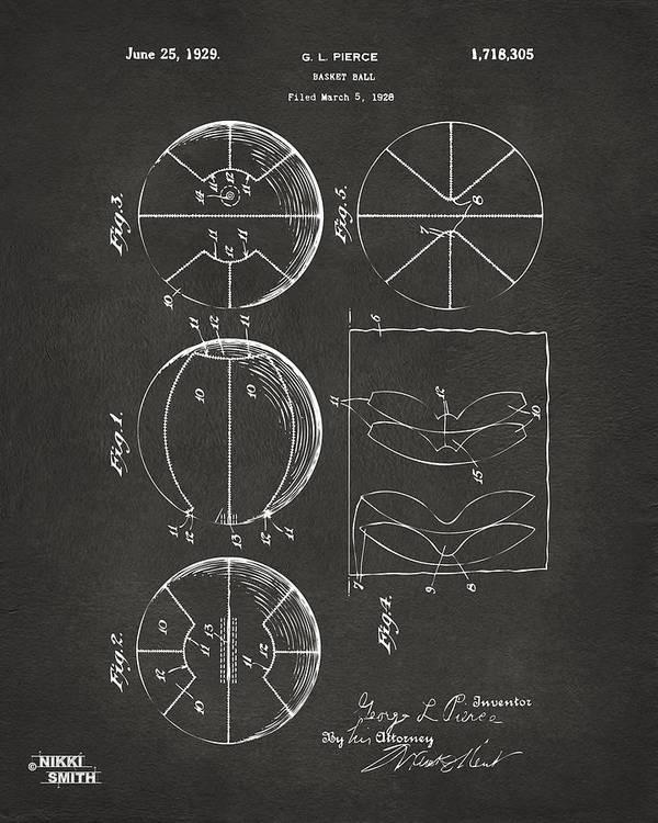 Basketball Art Print featuring the digital art 1929 Basketball Patent Artwork - Gray by Nikki Marie Smith