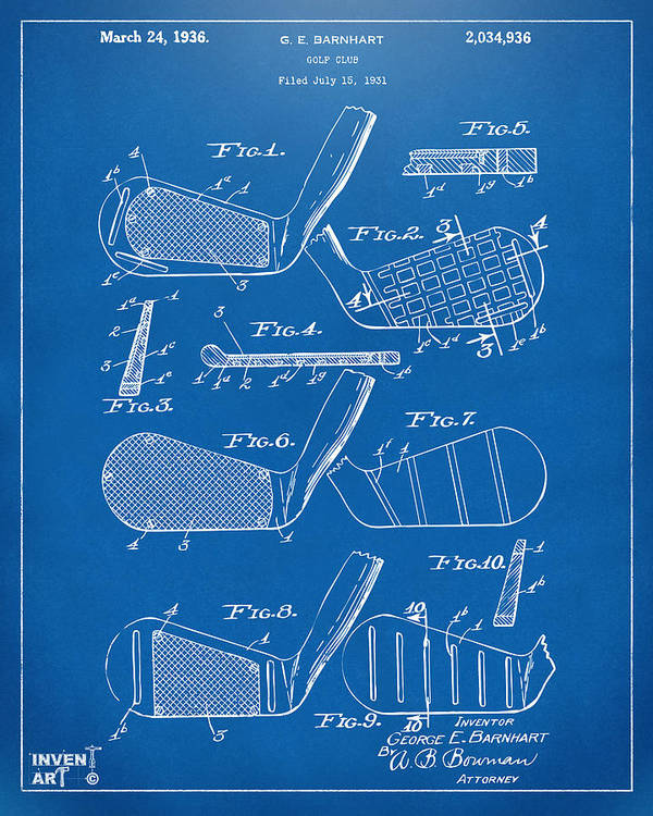 1936 golf club patent blueprint art print by nikki marie smith golf art print featuring the digital art 1936 golf club patent blueprint by nikki marie smith malvernweather Image collections