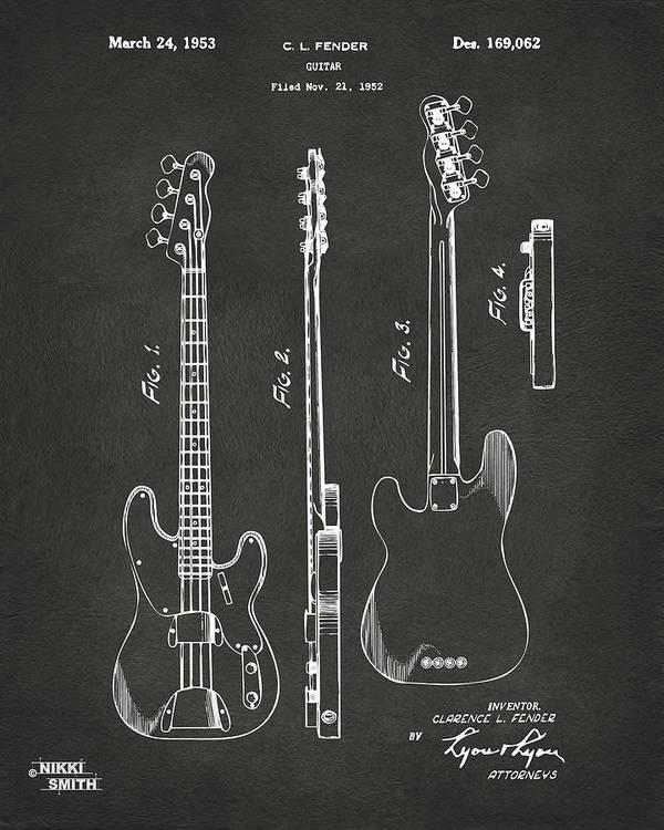 Fender Guitar Art Print featuring the digital art 1953 Fender Bass Guitar Patent Artwork - Gray by Nikki Marie Smith