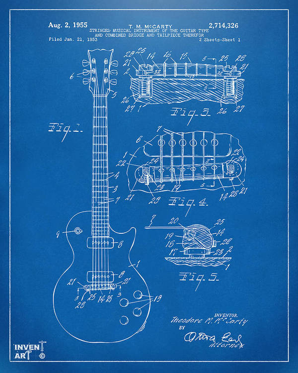 1955 mccarty gibson les paul guitar patent artwork blueprint art guitar art print featuring the digital art 1955 mccarty gibson les paul guitar patent artwork blueprint malvernweather Choice Image