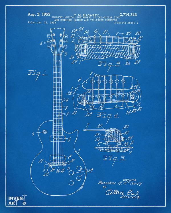 1955 mccarty gibson les paul guitar patent artwork blueprint art guitar art print featuring the digital art 1955 mccarty gibson les paul guitar patent artwork blueprint malvernweather Image collections